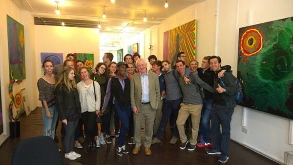 Giles Waterfield And Students On A Visit To John Hoyland's London Studio